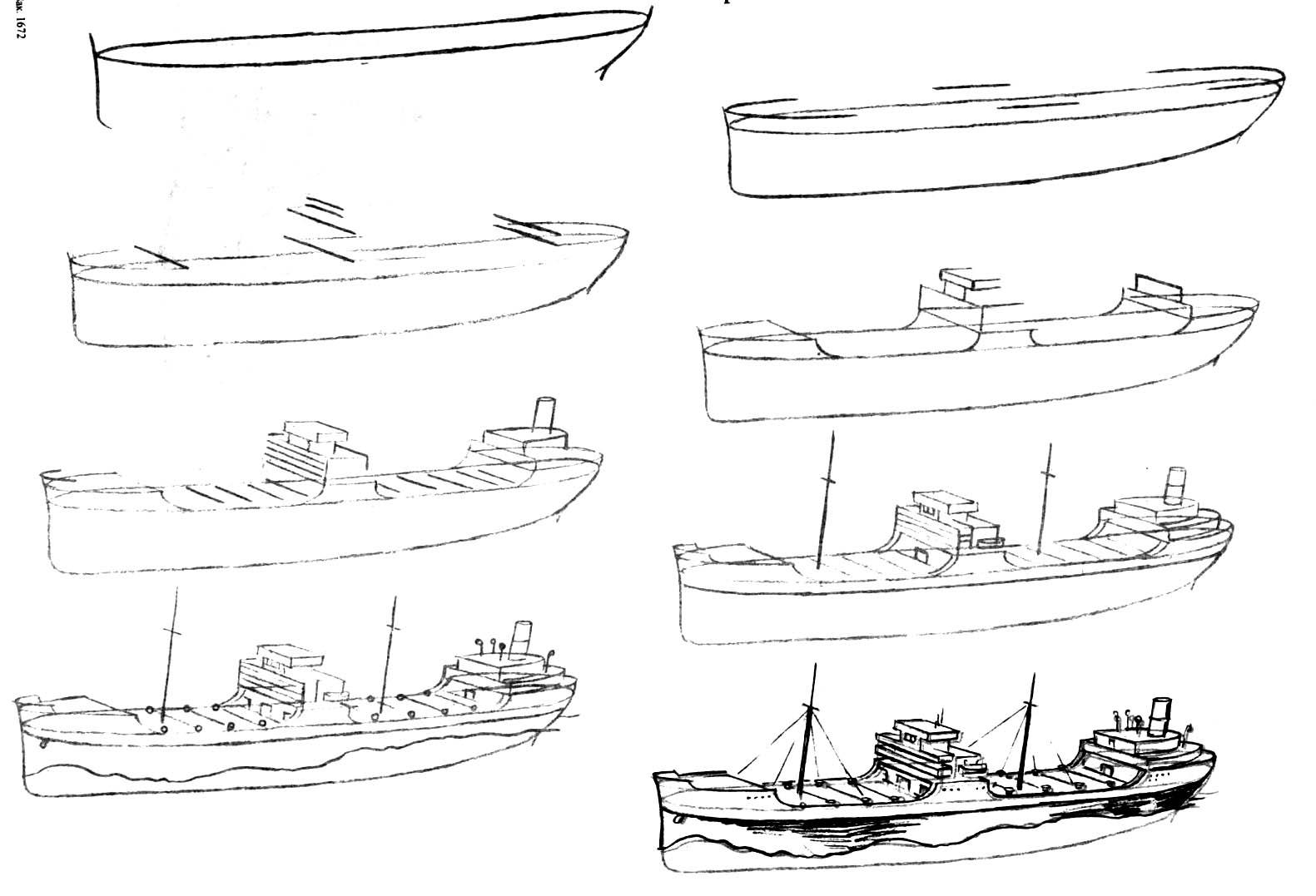 Как нарисовать корабль на море поэтапно 118